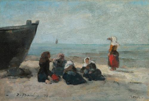 berck pêcheuses guettant le retour des barques by eugène boudin