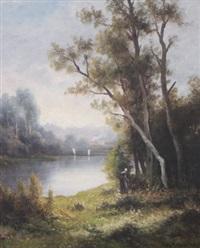 classical river scene by charles antoine lenglet