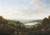 view of southampton across the river itchen with southampton water beyond by john tobias young