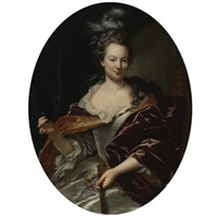 portrait of a lady, holding a fan and a domino mask by giovanni maria delle piane