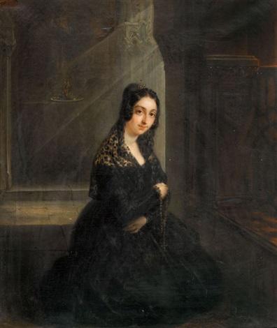 kniende dame mit rosenkranz by nicolas françois octave tassaert