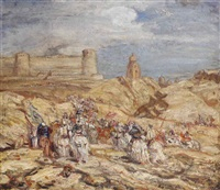 cavaliers: moorish cavaliers approaching a castle by marius bauer