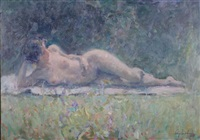 nude lying on grass by ricardo cejudo nogales
