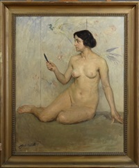 femme nue assise by lucien-hector jonas