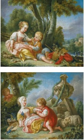 an allegory of spring an allegory of autumn pair by françois boucher