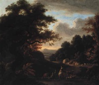 landscape with drover and shepherdess returning home at dusk by william ashford