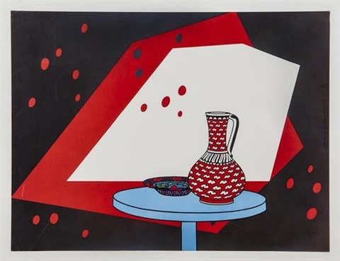 red and white still life by patrick caulfield