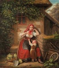 junge bäuerin mit ihrem kind by ferdinand liebsch