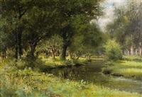 vue sur le bois et pêcheur en bordure de rivière by henri langerock
