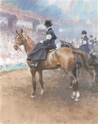 a dressage event with ladies sidesaddle by gilbert holiday