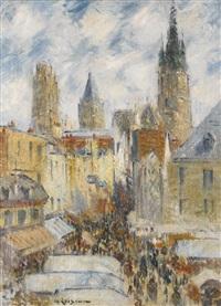 la rue de l'épicerie à rouen, jour de marché by gustave loiseau