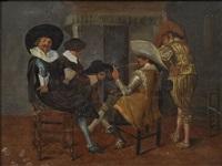 vier männer in geselliger runde am kamin by dirck hals