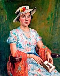 hölgy virágos kalapban by jozsef eolvedi gachal