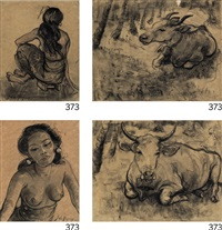 study of ni pollok sitting (ii) portrait of ni pollok (iii) sketch of a cow (iv) sketch of a cow in the woods (in 4 parts) by adrien jean le mayeur de merprés
