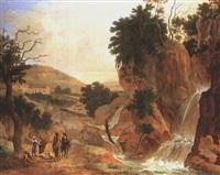 italianische berglandschaft mit wasserfall und reitern by bernardus le petit