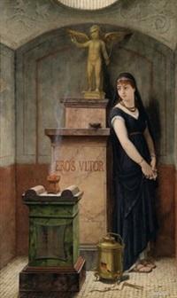 vestalin bei der statue des erzürnten eros by louis hector leroux