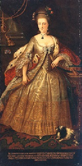 portrait of lady dorothea charlotta van nieuwkercken nijwenheim, wearing a white gold-embroidered dress by heini fischer