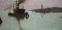 barcos en la bocana del puerto by josé gartner de la peña