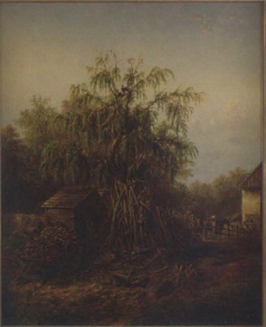 Southern Barnyard Landscape With Central Trees Chickens Roosters And Buildings By Edward Lamson Henry