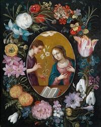 mariä verkündigung in einem blumenkranz by jan brueghel the younger