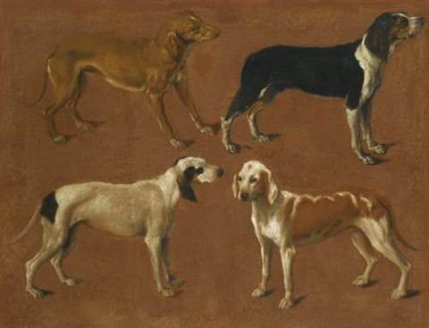 four pointers (study) by jacques-laurent agasse