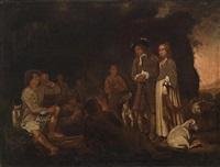 ein herr und eine dame im gespräch mit um ein feuer versammelten schafhirten by michael sweerts