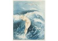 venus in the waves (light blue) by louis icart