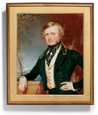 a young gentleman in green coat and white waistcoat with brass buttons by rochard