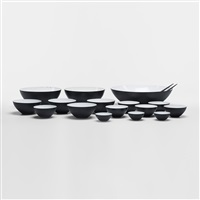 collection of sixteen krenit bowls and two servers (set of 18) by herbert krenchel