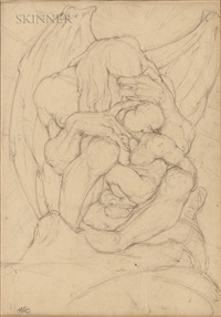 Two Drawings: Winged Creature with Child, 1920–1929