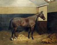 horse in a stable by thomas ivester lloyd