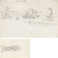 caerphilly castle, south wales (+ part of the castle from the north-east study, verso) by hendrick danckerts
