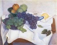 stilleven met druiven by willem august van der colk