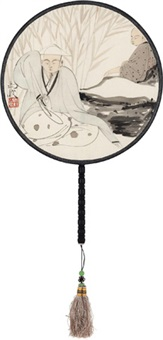 消夏图 宫扇 设色绢本 (circular fan) by ma jun