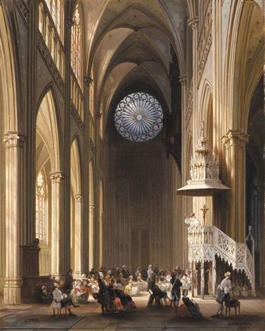 interieur van de saint etiennekathedraal te metz by jules victor genisson