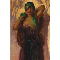 a young beauty with a green scarf by oscar theodore jackman