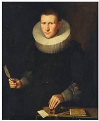 portrait d'homme en buste à la plume et l'encrier by thomas de keyser