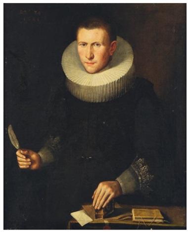 portrait dhomme en buste à la plume et lencrier by thomas de keyser