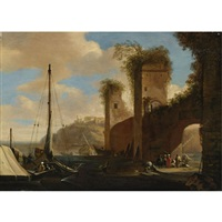 harbor scene with ships, ruins and figures by an archway by filippo d' angeli