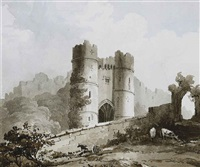 view of the gateway of carisbrooke castle, isle of wight (+ view of carisbrookle castle, isle of wight; 2 works) by sir thomas gage