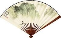 山水 成扇 (recto-verso) by bai xueshi