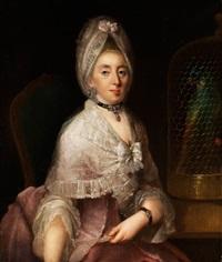 portrait einer nobeln dame mit papageienkäfig by johann christian fiedler