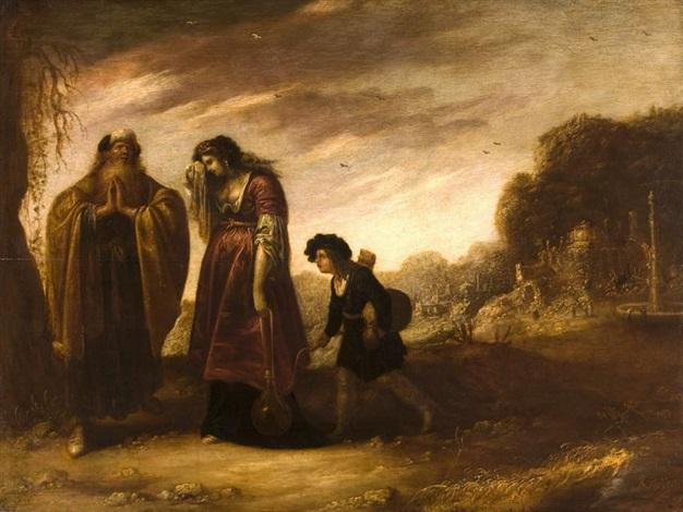 abrahem mit hagar und ismael by rombout van troyen