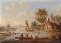 holländische flusslandschaft mit einer am ufer gelegenen windmühle und booten by jan arends