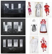 decorados, figurines y bocetos para maquillaje para la obra el castigo sin vengana, de lope de vega (c. 12 works) by muriel angel