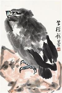 鹰 镜片 纸本 by li kuchan