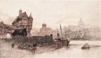 barcazas con ciudad al fondo by paul marny