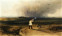 a sportsman and dog in a landscape, shower approaching by newton (smith limbird) fielding