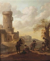 a coastal landscape with figures resting outside a city gate by wigerus vitringa