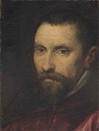 portrait of a gentleman, bust-length, in a red coat by jacopo robusti tintoretto